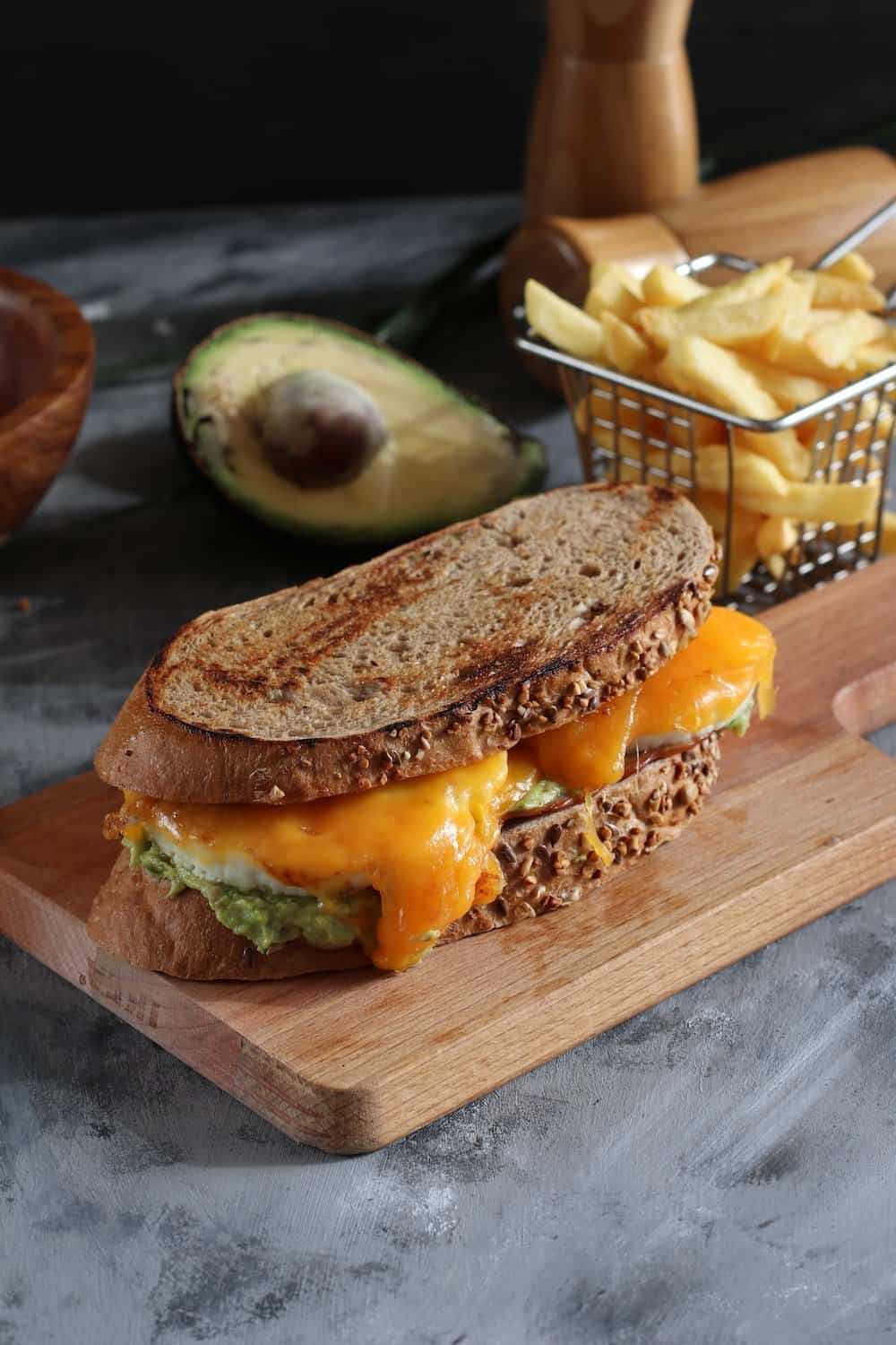 grilled cheese sandwich with avacado