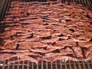 beef jerky on the smoker