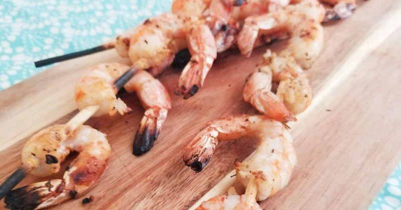 blackened shrimp skewers